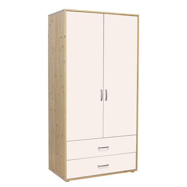 kleiderschrank 2 sch be 2 t kiefer lack wei wei 669. Black Bedroom Furniture Sets. Home Design Ideas