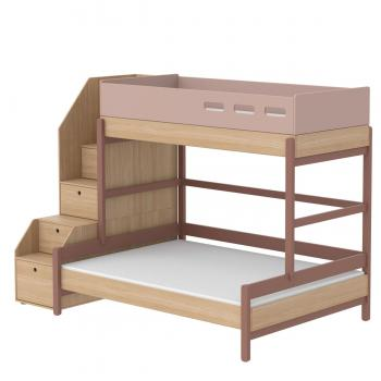 Flexa Popsicle Familienbett mit Treppe in 90/140x200 Cherry