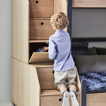 Flexa Popsicle Halbhohes Bett mit Treppe in 90x200 Kiwi