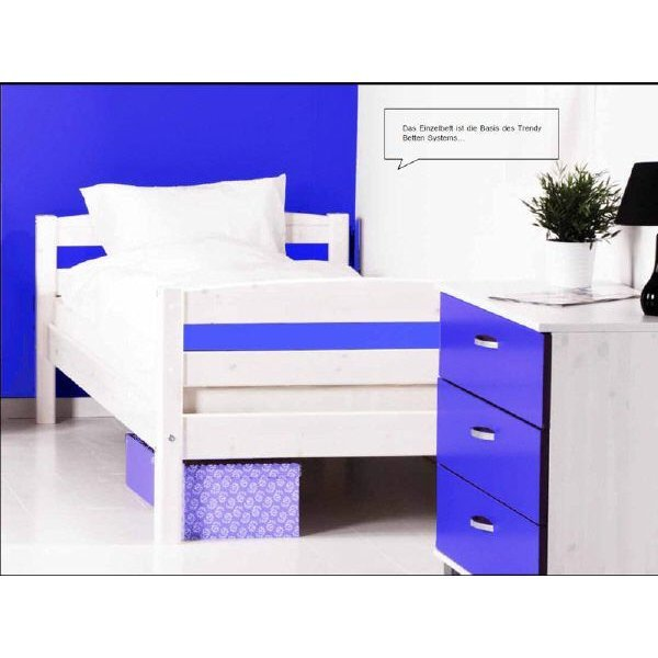 flexa basic trendy einzelbett 90x200 wei blau 159. Black Bedroom Furniture Sets. Home Design Ideas