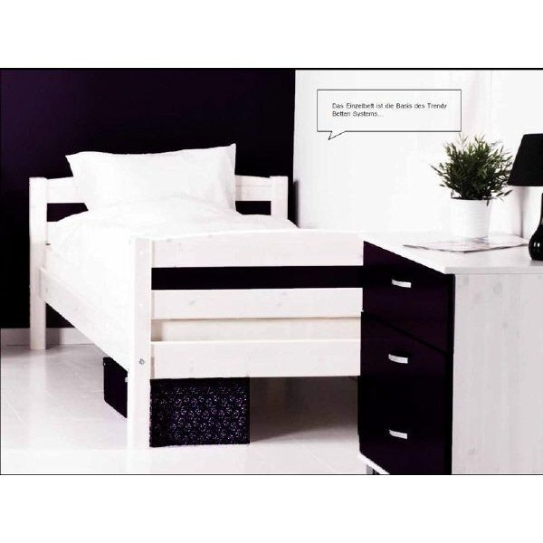flexa basic trendy einzelbett 90x200 wei schw 159. Black Bedroom Furniture Sets. Home Design Ideas