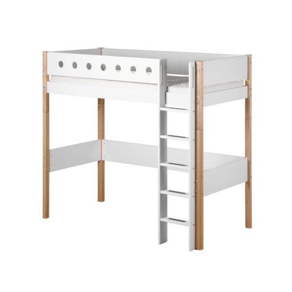 flexa white hochbett 90x200 gerade l birke wei 799. Black Bedroom Furniture Sets. Home Design Ideas