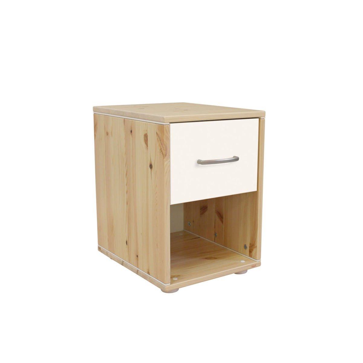 Classic Nachttisch 1 Schublade Kiefer/Lack Weiß/Weiß