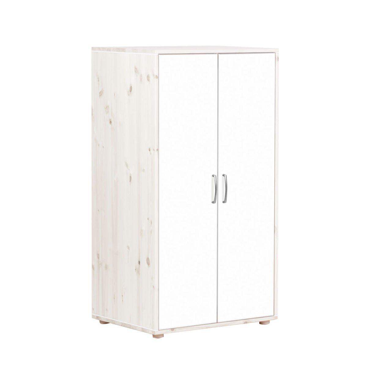 kleiderschrank 2 t ren kieferwei lack wei wei 358. Black Bedroom Furniture Sets. Home Design Ideas