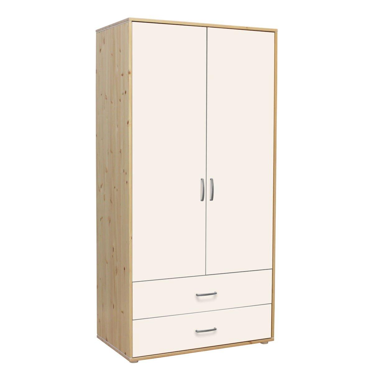 kleiderschrank 2 sch be 2 t kiefer lack wei wei 714. Black Bedroom Furniture Sets. Home Design Ideas
