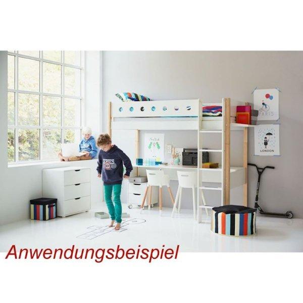 flexa white hochbett 90x190 gerade l wei grau 799. Black Bedroom Furniture Sets. Home Design Ideas