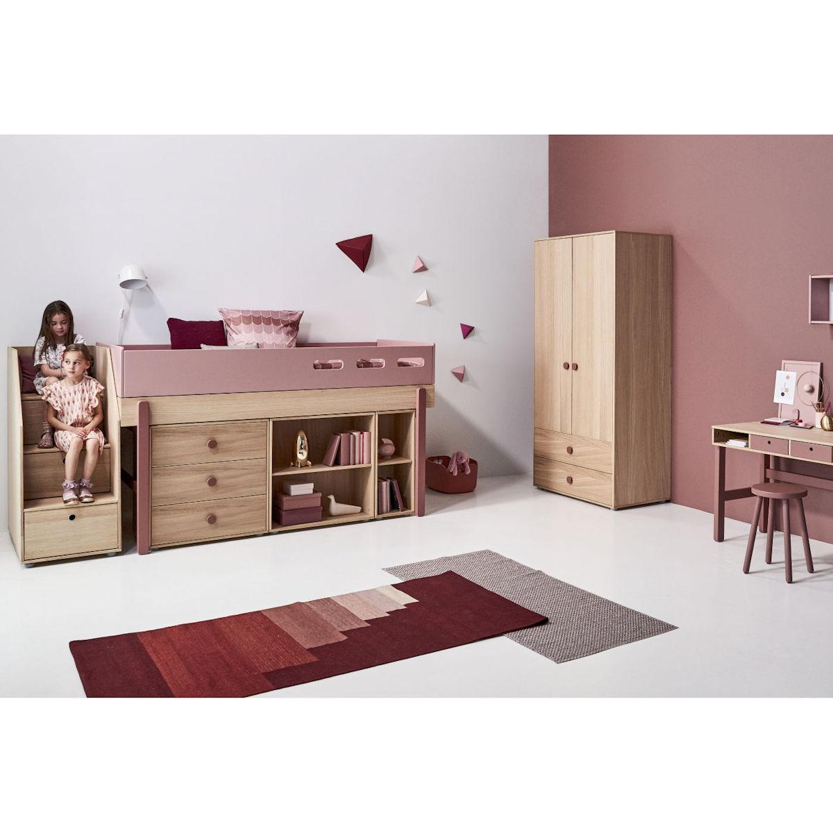 flexa popsicle halbhohes bett 90x200 cherry 90 10765 33. Black Bedroom Furniture Sets. Home Design Ideas