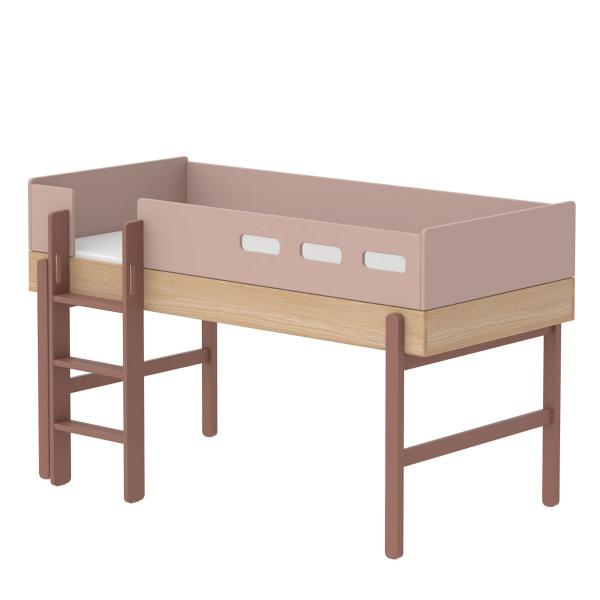 Flexa Popsicle Halbhohes Bett mit gerader Leiter in 90x200 Cherry