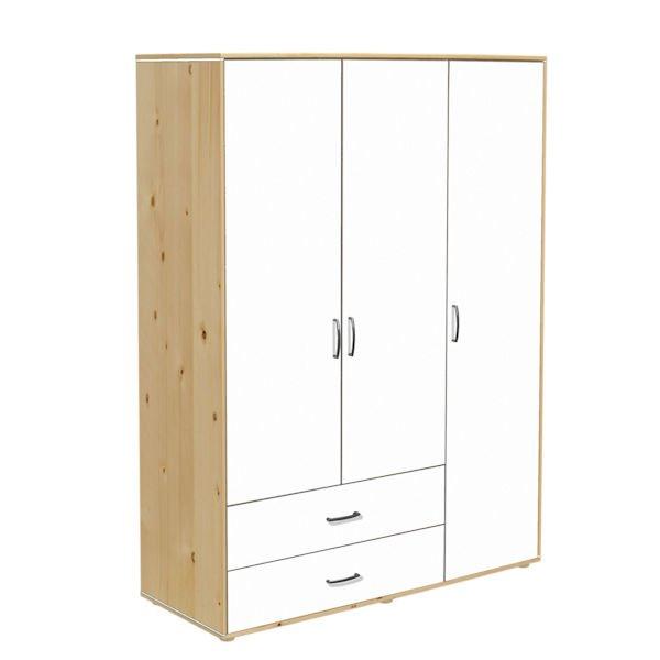 kleiderschrank 3 t ren 2 sch be kiefer lack wei wei 938. Black Bedroom Furniture Sets. Home Design Ideas