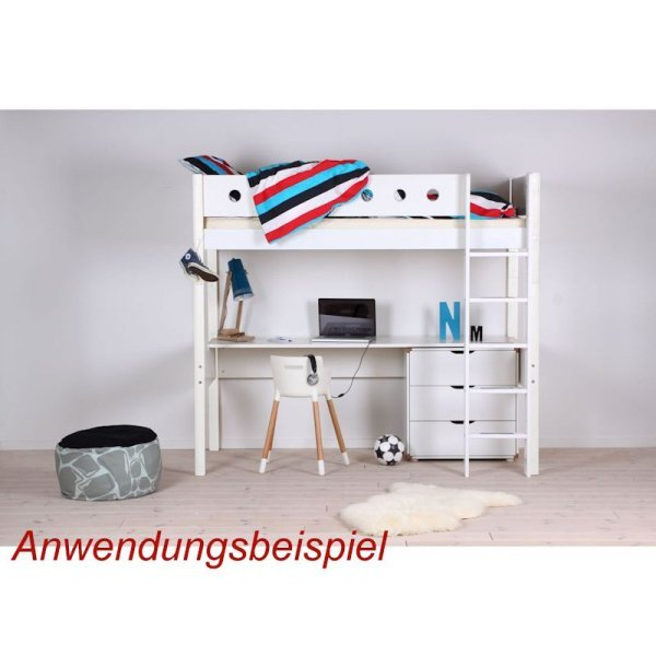 flexa white hochbett 90x200 gerade l wei wei 799. Black Bedroom Furniture Sets. Home Design Ideas